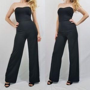Edith Black Strapless Lulus Jumpsuit